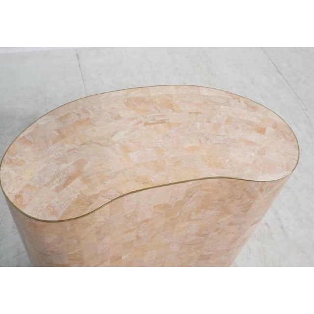 Final Markdown Maitland-Smith Tessellated Pink Marble Kidney Side Table - Image 2 of 6