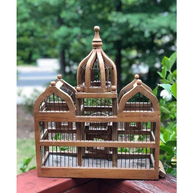 Boho Chic Antique Wooden Bird Cage For Sale - Image 3 of 6