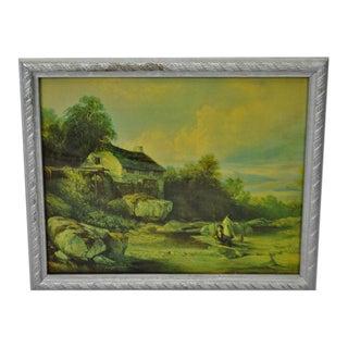 Vintage Framed Landscape Print by Muller For Sale