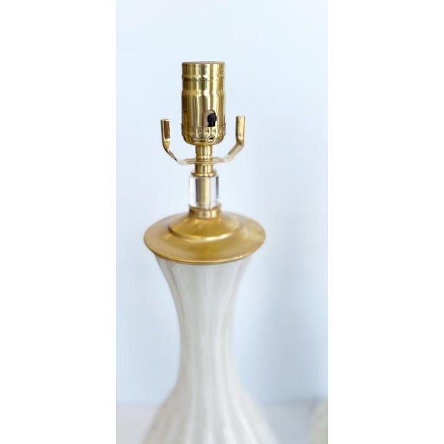 Murano Vintage Gold and White Barbini Murano Lamp Vintage - a Pair For Sale - Image 4 of 9