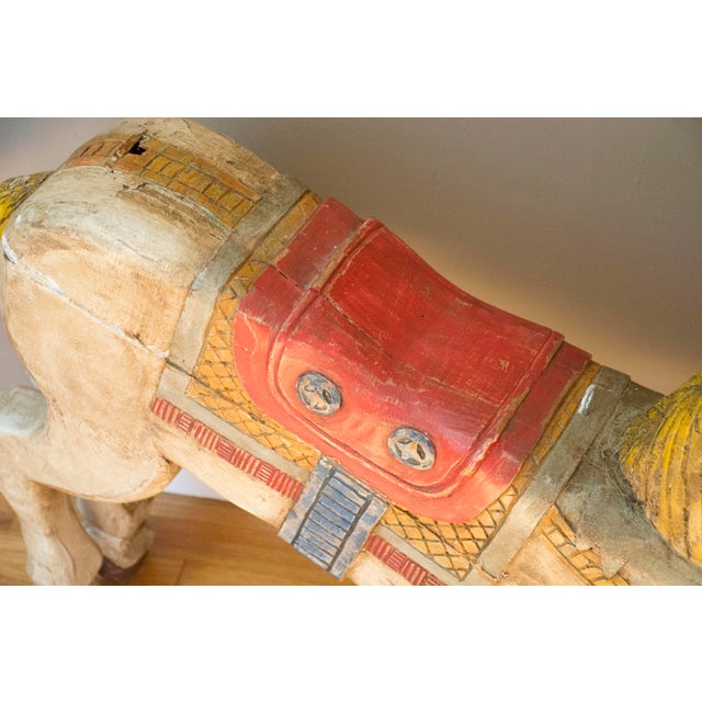 Antique Wooden Polychrome Carousel Horse - Image 6 of 8