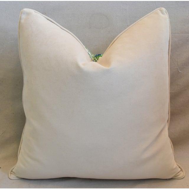 """Chinoiserie Blue, Green & White Pagoda Linen & Velvet Pillow 26"""" Square For Sale - Image 4 of 6"""
