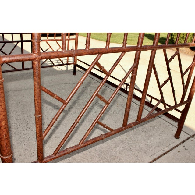 Metal Vintage Chippendale Iron Bamboo Fretwork King 4 Poster Canopy Bedframe For Sale - Image 7 of 11