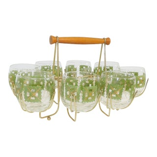 Mid Century Modern Barware Glasses With Caddy - Set of 8