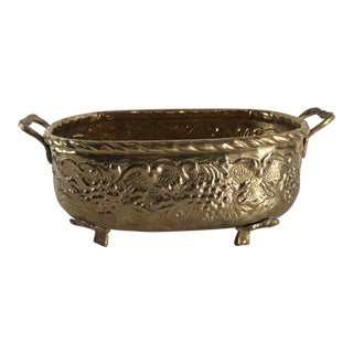 Vintage Brass Planter Jardiniere Oval Footed Grape Embossed / Victorian Baroque For Sale