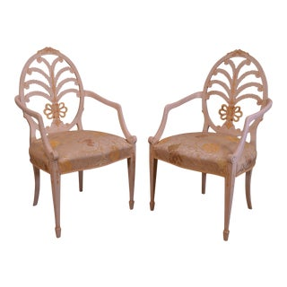 Hepplewhite Style Custom Adams Hand Painted Prince of Whales Armchairs - a Pair For Sale