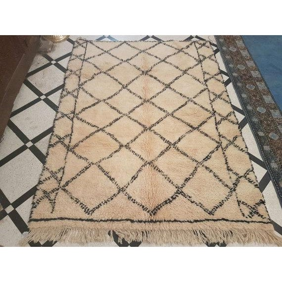 Vintage Moroccan Beni Ourain Area Rug - 5′5″ × 7′5″ - Image 2 of 5