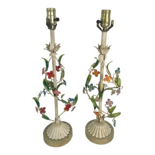 Vintage Toile Lamps, a Pair For Sale