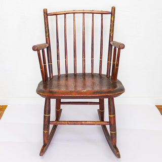 Grain Painted Spindle Back Rocking Chair | 19th Century Red Primitive Antique Preview