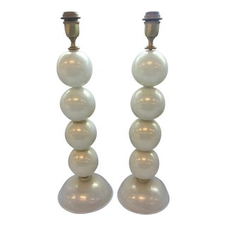 Modern White and Gold Murano Glass Table Lamps - a Pair For Sale