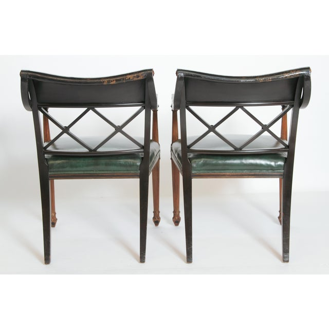 Animal Skin Pair of Regency Style Lacquer Arm Chairs For Sale - Image 7 of 13