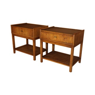 Pair Mid Century Modern Walnut Caning Nightstands For Sale