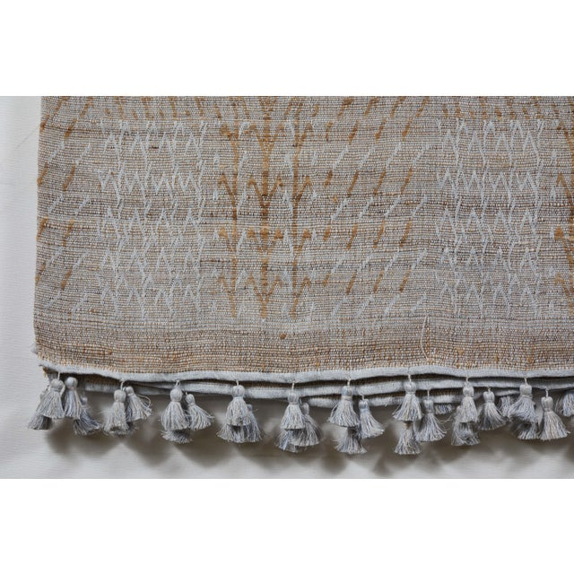 Contemporary Indian Handwoven Bedcover Tree Pale Blue For Sale - Image 3 of 5