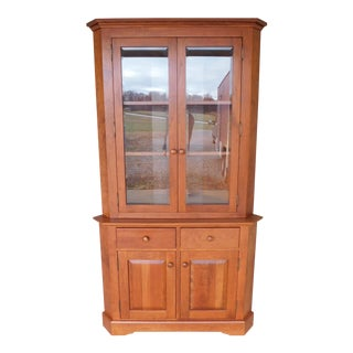 "Hunt Country Cherry Chippendale Traditional Style 2pc Corner China Cabinet ""A"" For Sale"