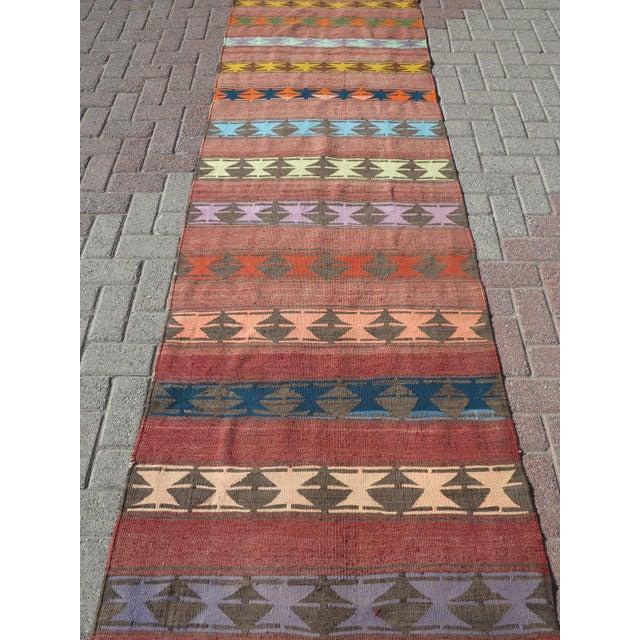 "Rug & Kilim Vintage Anatolian Handmade Kilim Runner-3'x11'4"" For Sale - Image 4 of 13"