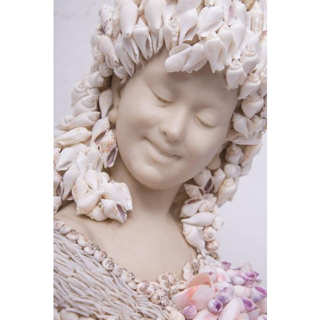 1980s Shell-Encrusted Composition Bust For Sale - Image 5 of 7