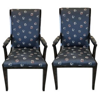 20th Century Amboyna Wood Dining Chairs by William Doezema for Mastercraft, Pair For Sale