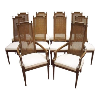 French Traditional Style Cane Dining Chairs - Set 10 For Sale