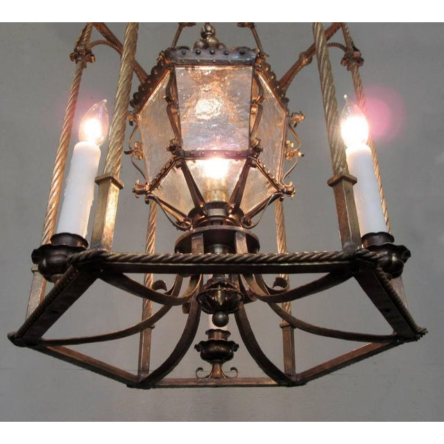 19th Century Italian Venetian Gilt Tole Lantern with Oil Lamp For Sale In Charleston - Image 6 of 7