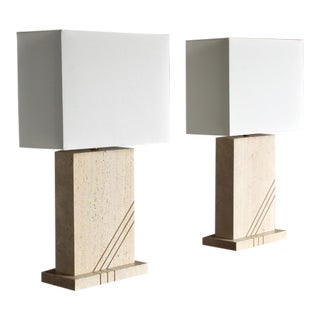 1980s Modernist Travertine Lamps- A Pair For Sale