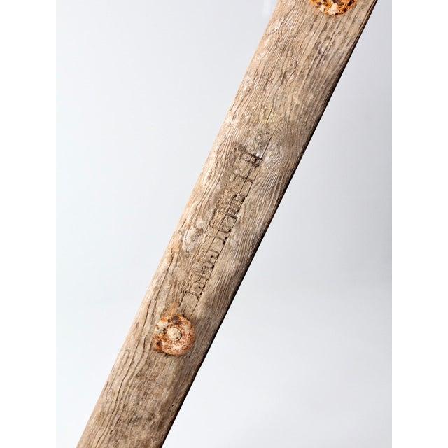 Brown Vintage Wooden Folding Ladder For Sale - Image 8 of 11
