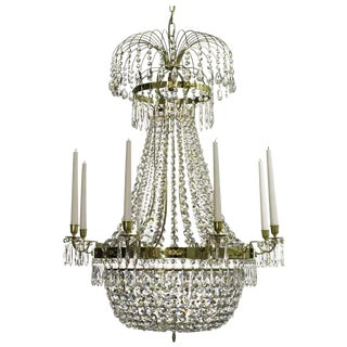 Empire 8 Polished Brass Octagon Chandelier For Sale