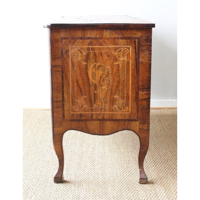 18th Century Dutch Serpentine Front Marquetry Commode For Sale - Image 12 of 13