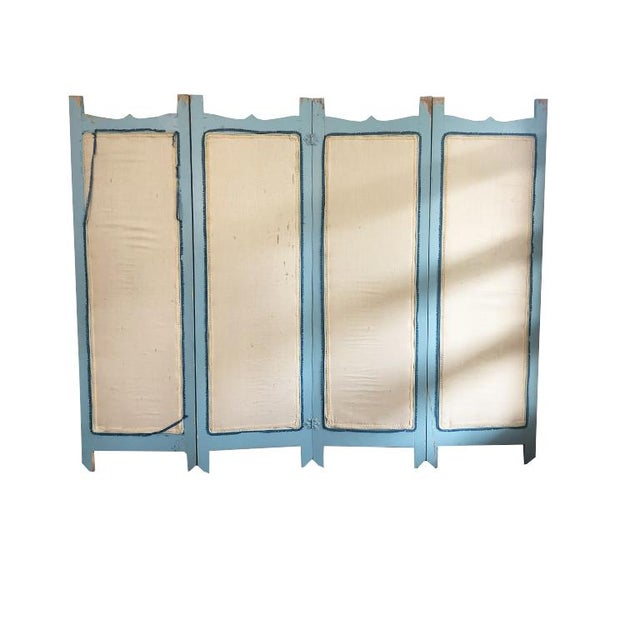 Vintage 4 Panel Chinoiserie Bird and Flower Motif Blue Divider Screen For Sale - Image 4 of 9