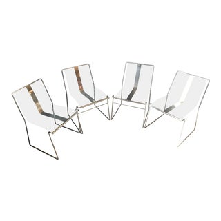 1970s Vintage Modern Lucite Chairs - Set of 4 For Sale