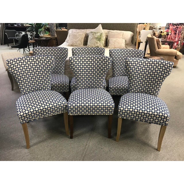 Blue Transitional Dining Room Side Chairs - Set of 6 For Sale - Image 8 of 8
