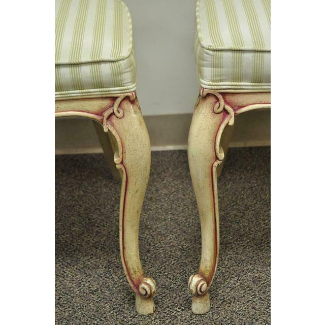 1950s 1950s Vintage Scroll Carved Italian Hollywood Regency Cream Pink Cane Back Dining Chairs- 4 Pieces For Sale - Image 5 of 11
