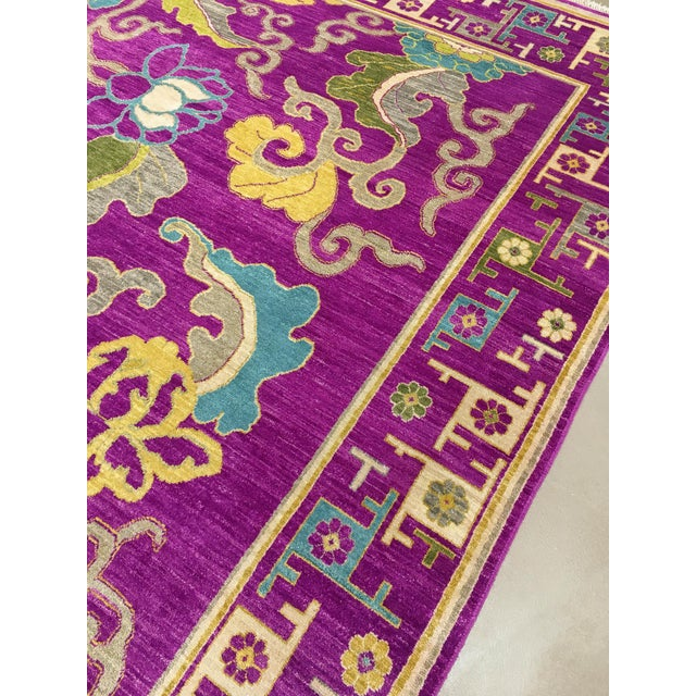 "2000 - 2009 Exotic Fuschia Chinese Design Rug, 8' X 10'3"" For Sale - Image 5 of 12"