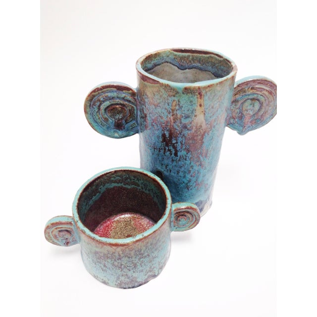 Contemporary Organic Sculptural Turquoise Pottery Vases - a Pair For Sale - Image 3 of 7