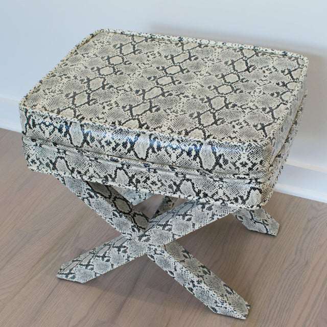 Mid 20th Century Billy Baldwin Style Python Leather X-Bench Ottoman Footstool For Sale - Image 5 of 13