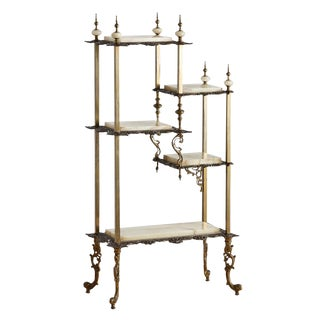 Highly Decorative Onyx & Brass Etagere Circa 1890