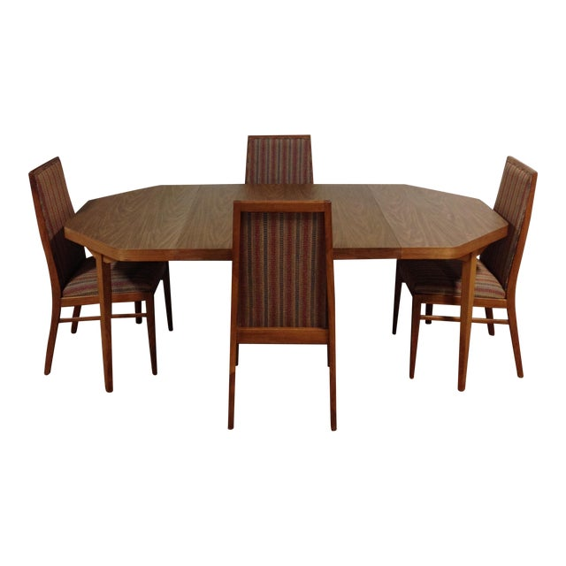 Vintage Dual Leaf Teak Dining Set - Image 1 of 11