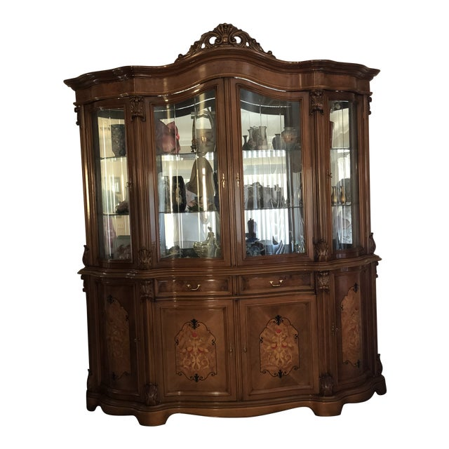 Golden Walnut China Cabinet For Sale