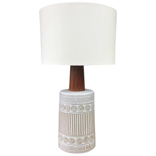 Gordon & Jane Martz for Marshall Studios Ceramic & Teak Table Lamp For Sale