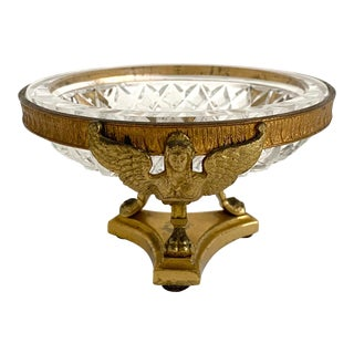 Art Deco Crystal and Brass Compote Trinket Dish For Sale