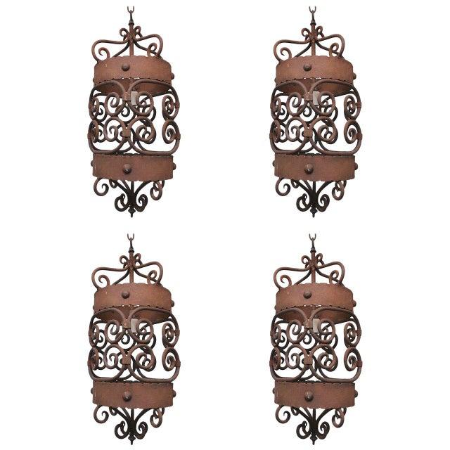 Mediterranean 1920 Iron Lanterns - Set of 4 For Sale - Image 3 of 3