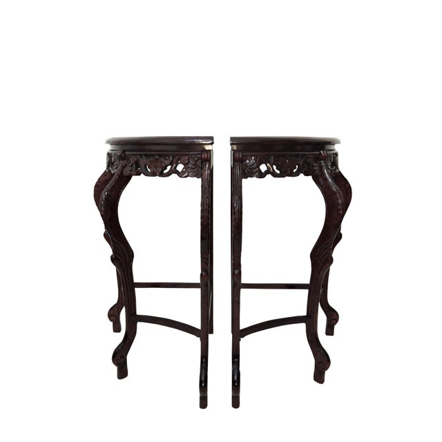 Italian Pair of Italian Style Marble Top Corner Hallway Tables, Pedestals or Demi-Lune For Sale - Image 3 of 7