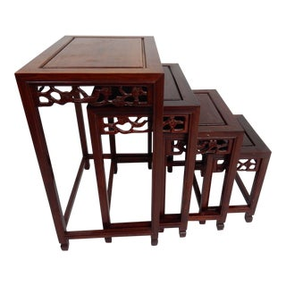 Chinese Intricately Carved Rose Wood Nesting Tables - Set of 4
