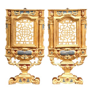 18th Century Italian Carved Polychrome & Gilt Wall Carvings - A Pair For Sale