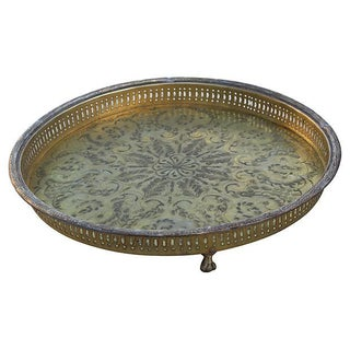 Handmade Moroccan Brass Tray For Sale