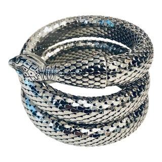 1980s Whiting & Davis Silver Mesh Three Coil Snake Bracelet For Sale