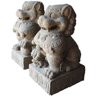 Late 20th Century Vintage Chinese Concrete Foo Dogs Guardian Lion Statues- A Pair For Sale