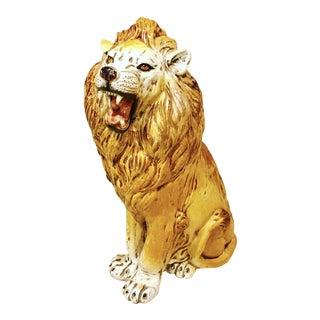 Italian Ceramic Lion Floor Statue For Sale