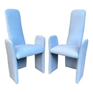 Sculptural Vintage Light Blue Velvet Accent Chairs- a Pair For Sale