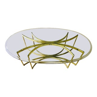 Mid Century Brass and Glass Coffee Table Hollywood Regency