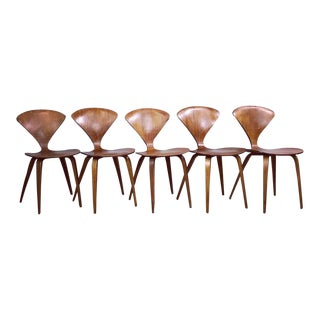 Vintage Mid Century Modern Norman Cherner for Plycraft Plywood Dining Chairs- Set of 5 For Sale